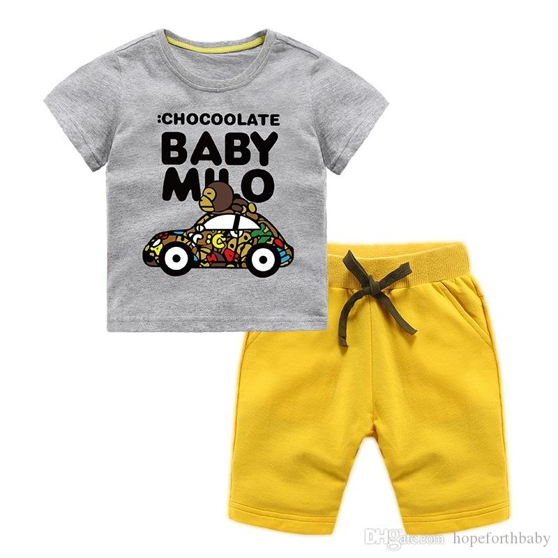 Cute Baby Boys And Girls Designer T-shirts And Shorts Suit Brand Tracksuits Kids Clothing Set Hot Sell Fashion Summer Children's Clothing