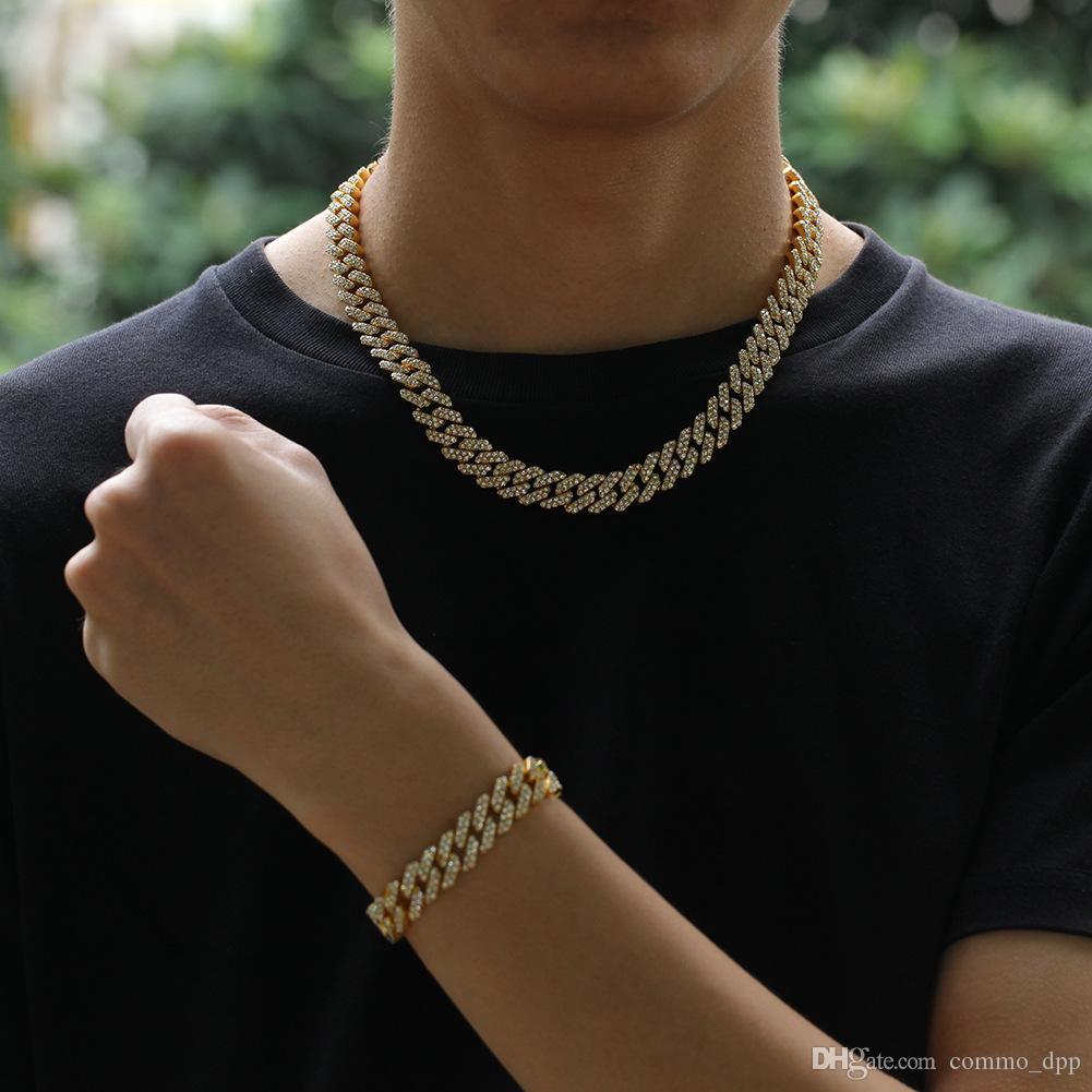 12MM Miami eslabón de la cadena cubana collar de las pulseras fijado para el hombre Bling Hip Hop helaron a cabo cadenas de diamante de plata de oro rapero mujeres joyería de lujo
