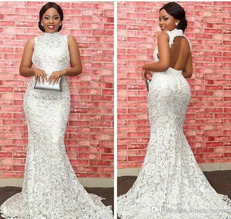 2019 Cheap Backless White Lace Evening Dress Arabic Dubai High Neck Celebrity Formal Holiday Wear Prom Party Gown Custom Made Plus Size