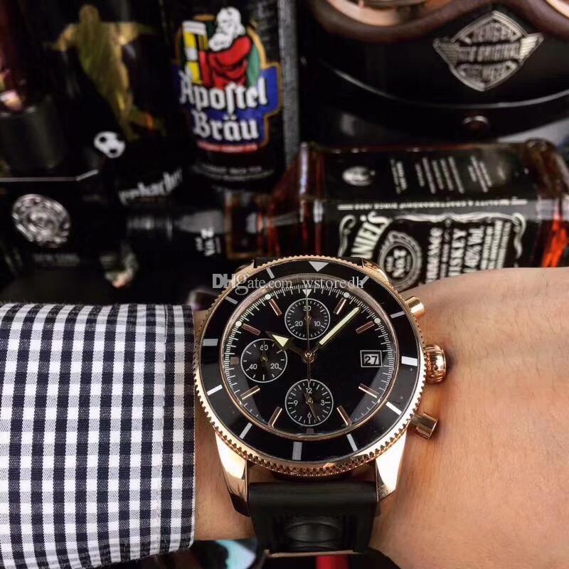 роскошные мужские часы VK64 хронограф Наручные часы из розового золота оболочки силиконовый ремешок 5 АТМ водонепроницаемый спорта смотреть световой указатель MONTRE де спорт