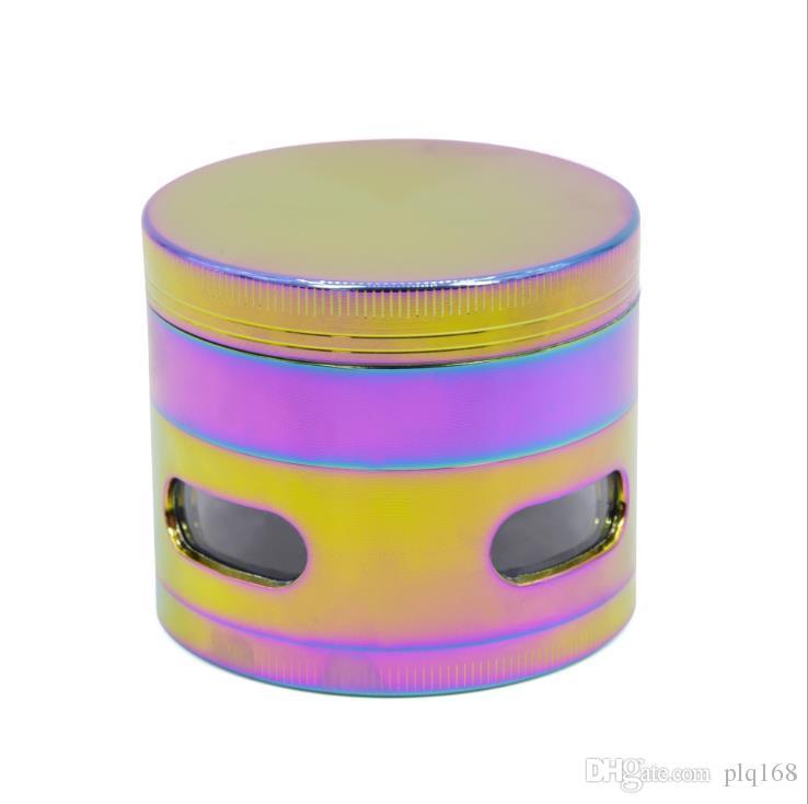 Amoladora de humo de ventana lateral de arco iris con diámetro de 63 mm, 4 capas de aleación de zinc