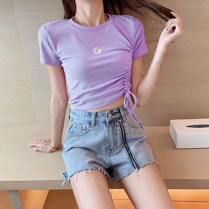 반소매 T 셔츠 여성 2020 데이지 자수 로프 패션 바지 반바지에게 짧은 데님 반바지 정장을 수 놓은 소송