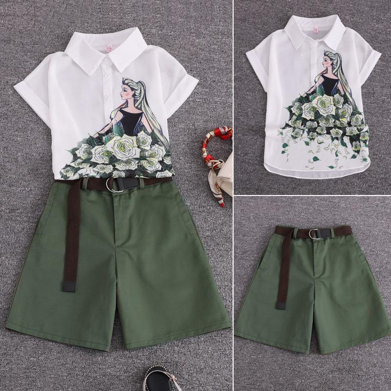 Лето 2 шт костюмы девушки печати шифон блузка рубашки женщин топы + шорты набор женщин из двух частей набора костюм с поясом