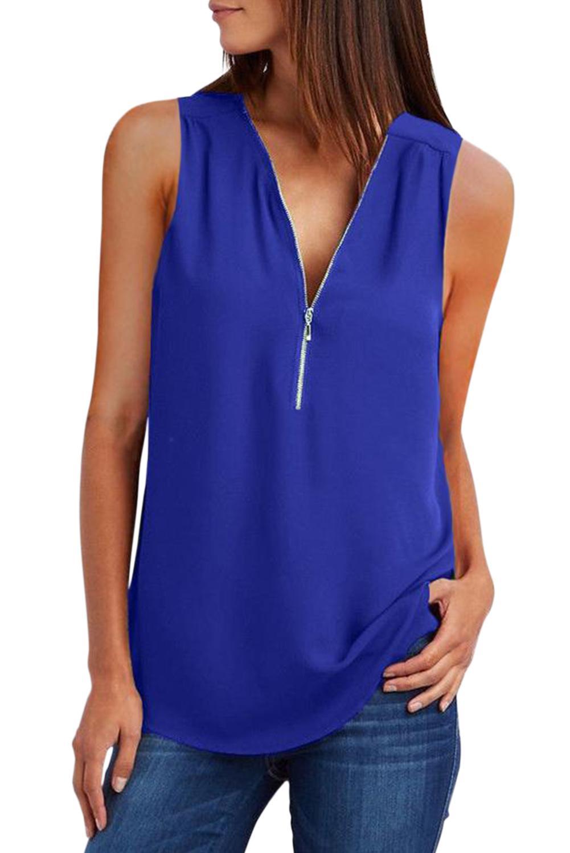 Cher amant 2020 Freeshipping Vêtements pour femmes En Stock Articles Khaki gros Zip Shirt sans manches réservoir