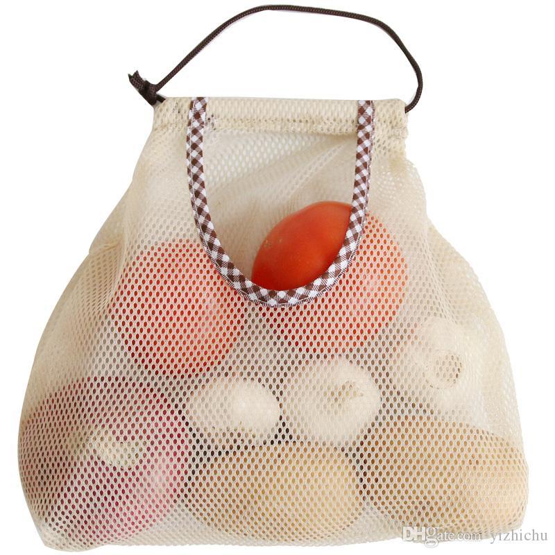 Saco de Malha de Armazenamento Reutilizável de Parede Oco Sacola de Rede Vegetal Respirável Oco para Frutas, Garlics, Batatas, Cebolas ou Saco de Lixo