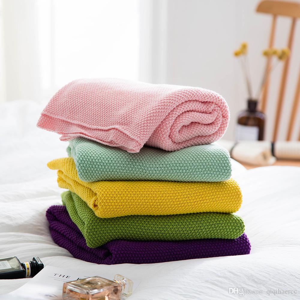Rejilla Manta de hilo de tiro de verano para cama Sofá Viaje Gasa de algodón Ropa de cama Colcha Colcha Ligera Transpirable