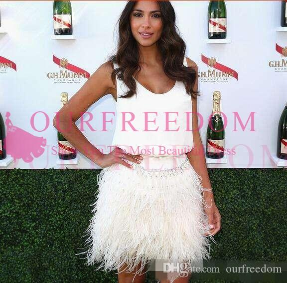 Pretty Ostrich Feather Cocktail Dresses robe de soiree Mini Prom Gowns Chiffon Red Carpet Gown Celebrity Dress Women Party Dress