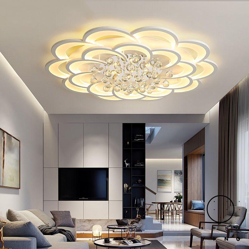 Cristal moderne Led Lustre chambre Salon Chambre Étude Home Déco acrylique 110V 220 V plafond Lustre Luminaires