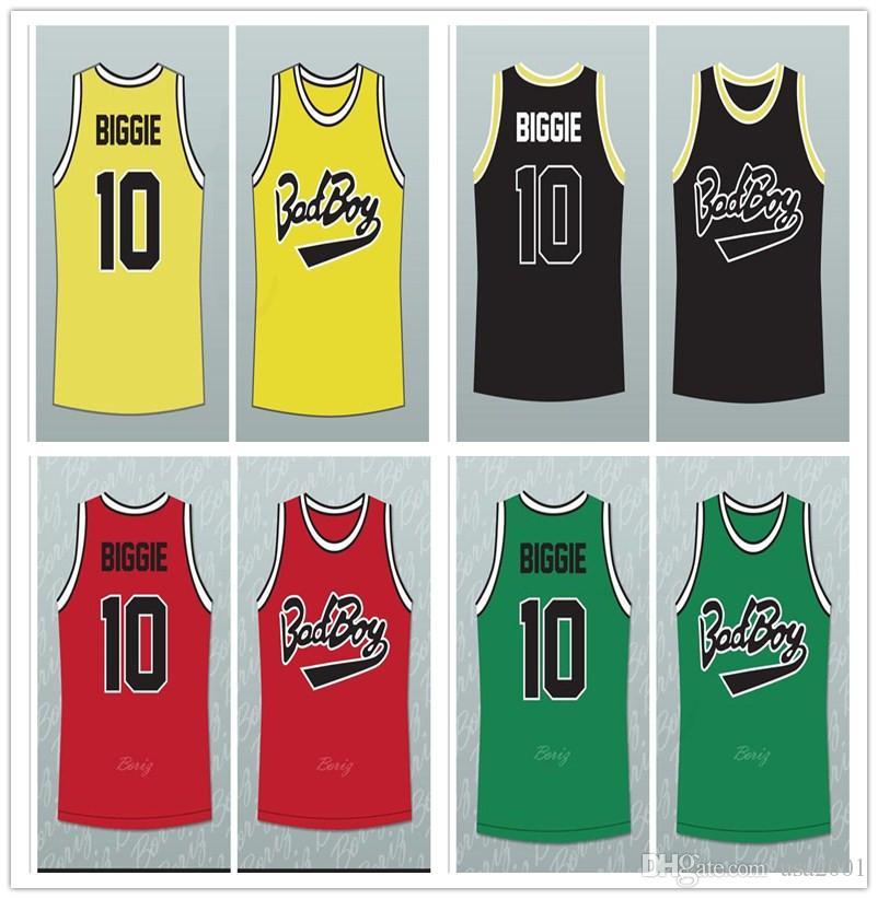 por encargo del chico malo Notorious Big 10 Biggie Smalls las mujeres del hombre de baloncesto juvenil tamaño de los jerseys S-5XL rojo verde amarillo cualquier número nombre