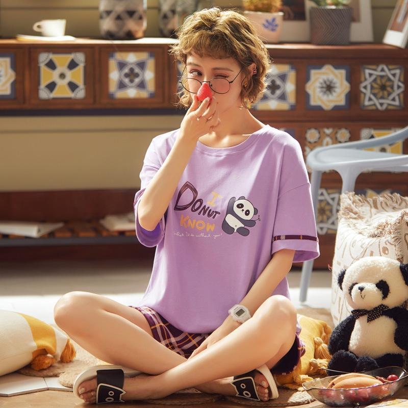 pijamas de los pares JCotw wo y pantalones cortos pijama de algodón de manga corta de las mujeres jóvenes floja de la historieta del verano pantalones de la selección de algodón hombres de shortssuit