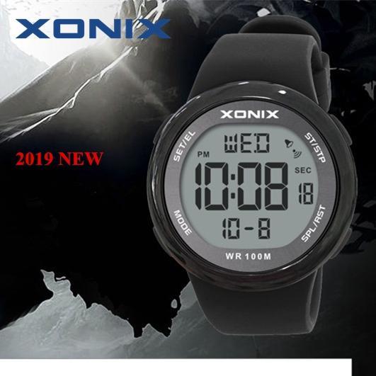 La moda de los hombres de los relojes deportivos 100m impermeable al aire libre Diversión Hardlex Espejo Sumergible Reloj Digital Natación Reloj Reloj Hombre