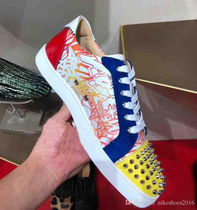 Red Sole Design Homens Sneakers Vermelho Inferior Low-Top Júnior Spikes Sapatos Flats Homens e Mulheres Sapatilhas de Couro Sapatos Casuais Graffiti Frete Grátis