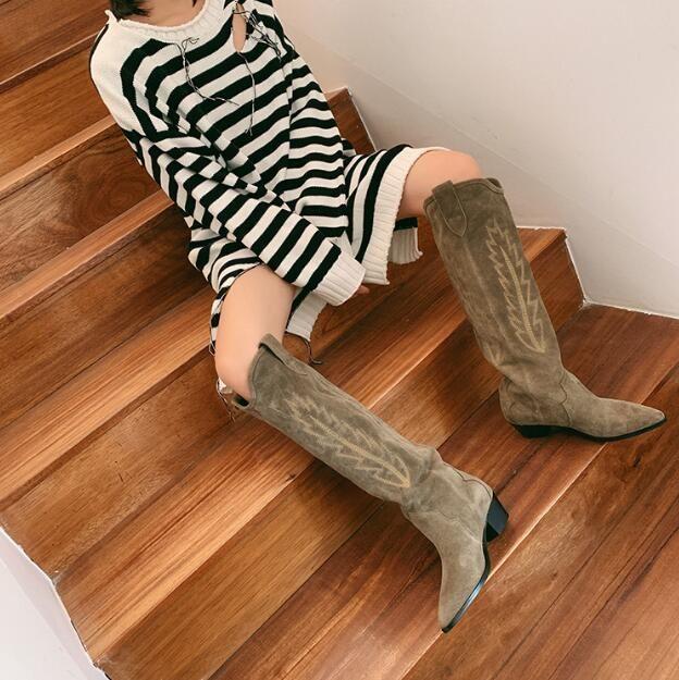 2019Perfect Paris Fransa Isabel Ayakkabı Denzy Süet Kovboy Çizme Marant Stil Diz yüksekliğindeki Batı esinli Dikiş Buzağı Deri Çizme