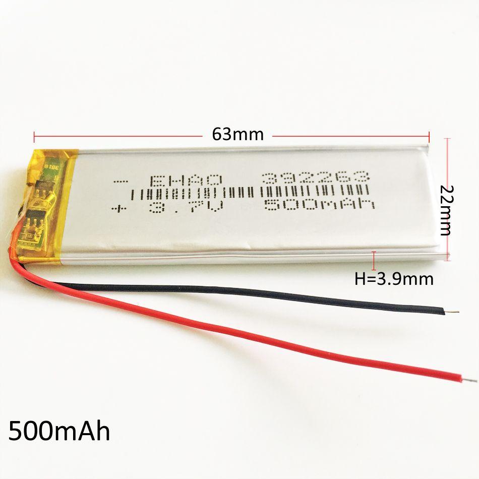 3.7 v 500mAh 392263 리튬 중합체 재충전 전지 LiPo 세포 Li 이온 건전지 Mp3 헤드폰 DVD GPS 이동 전화 사진기 PSP 게임 장난감