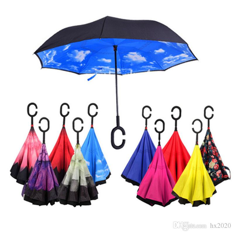 41 colors Sunny And Rainy Umbrella Windproof Reverse Folding Double Layer Inverted Umbrella Self Stand Inside Out Rain Protection C-Hook Han