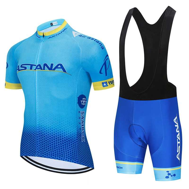 Astera strava ciclismo Jersey fija el juego de ciclismo manga corta ropa MTB bicicleta de Jersey de 80% poliéster Maillot M Ropa