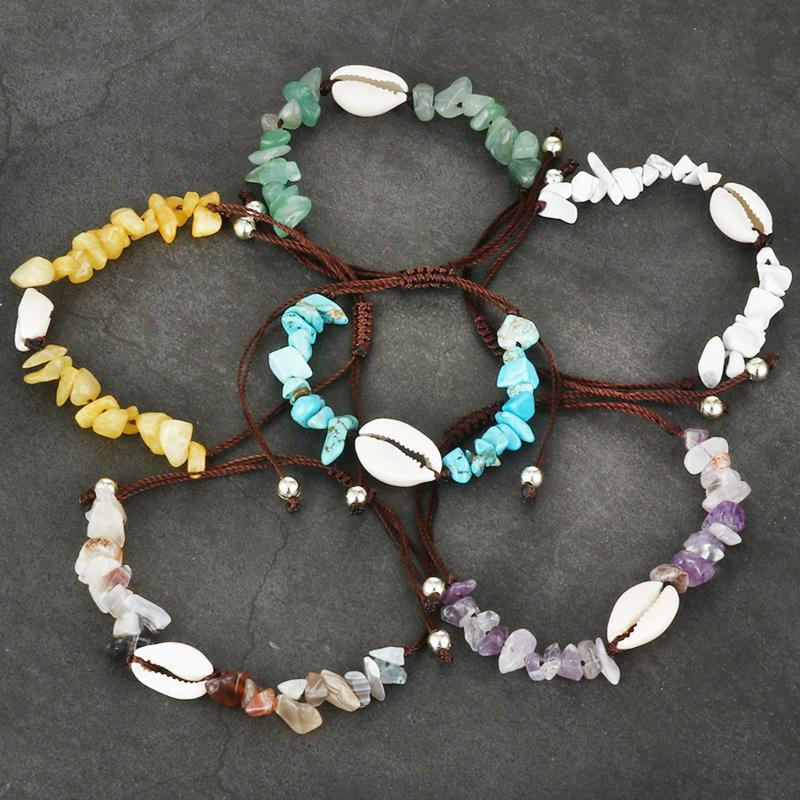 Link, kette handgemachte naturstein shell seil armband frauen perlen boho einstellbar armband feiertag strand meerschmuck