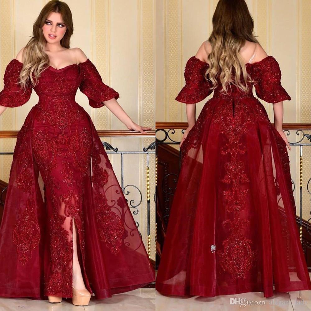 Arábia Saudita Borgonha Borgonha vestidos de noite com saia destacável fora do ombro manga curta formal vestidos de baile árabe frontal