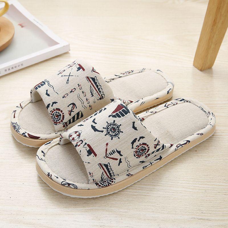 Inicio Mujeres zapatillas de interior Pareja suelo blando de lino Zapatilla de otoño del resorte ligero unisex zapatos de las señoras de lino del dormitorio de las chancletas. # JJI