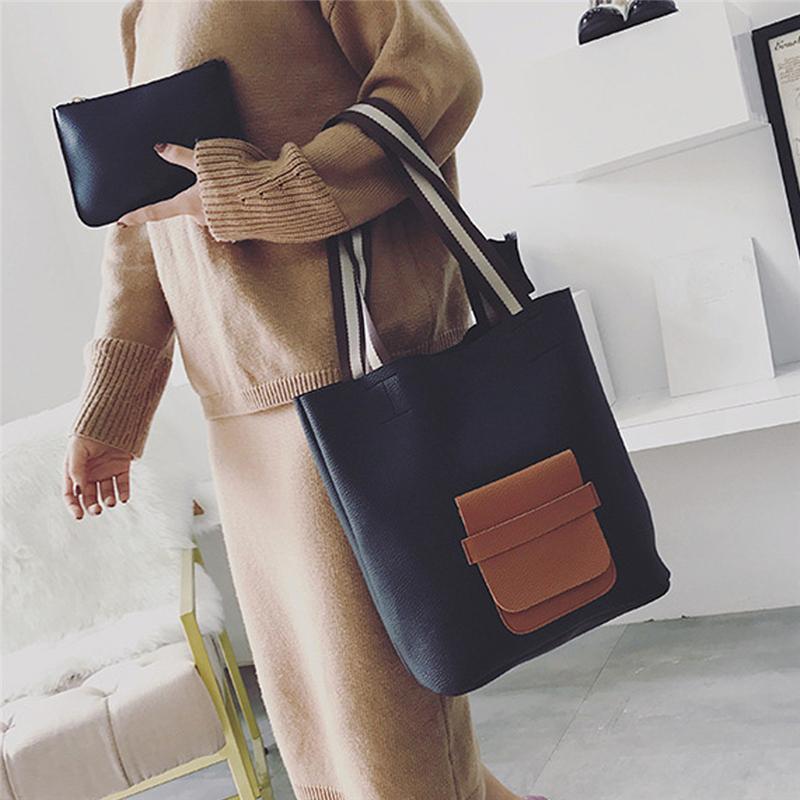 2Pcs / set Art und Weise Taschen-Freizeit-Handtaschen Schnalle Farbeimer Damen-Beutel-Schulter-Beutel-Spielraum 2-Farben-Frauen Top-Griff Taschen