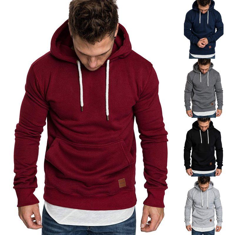 New 2019 sweatshirt men hoodies brand male long sleeve solid hoodie men black red big size poleron hombre