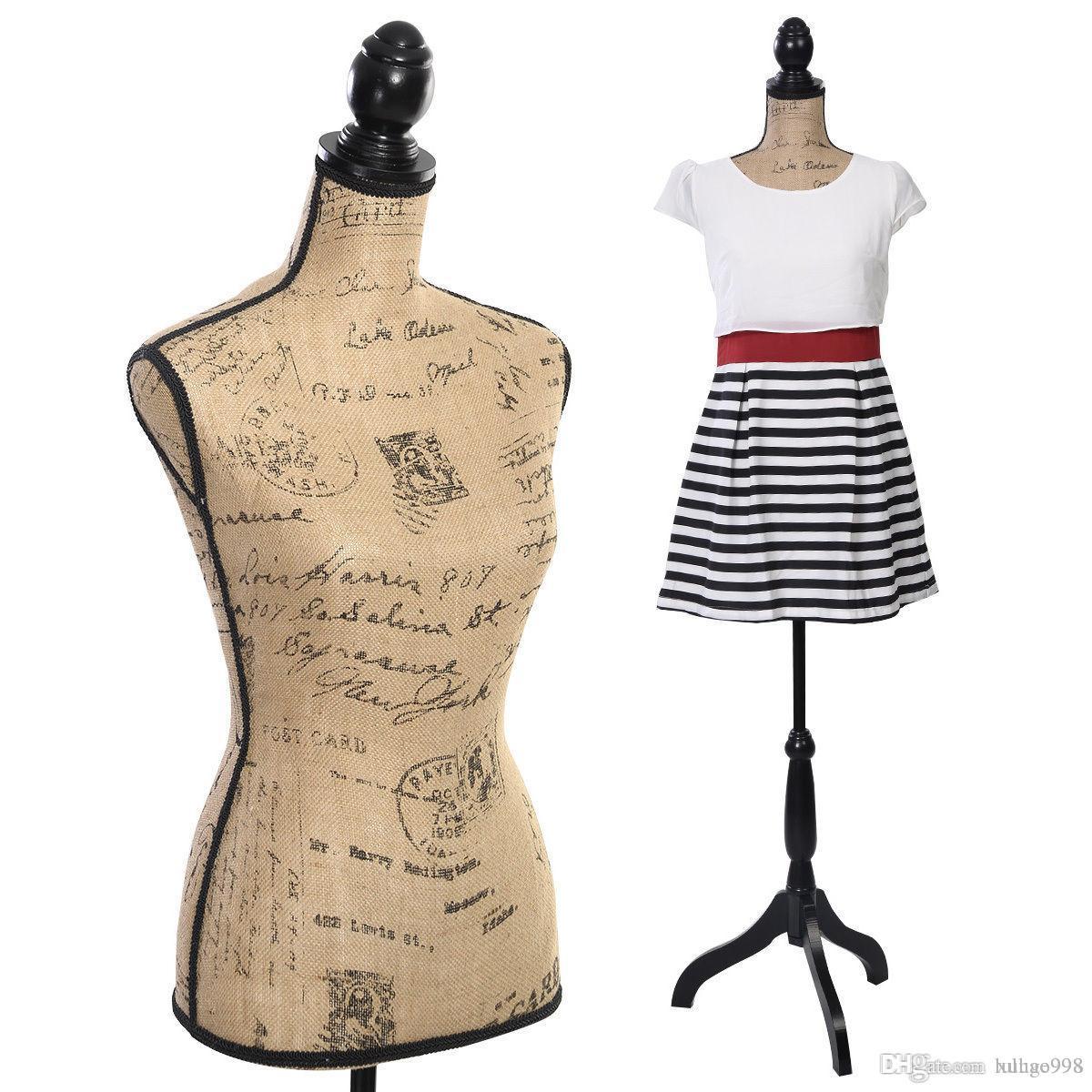 Affichage de formulaire de robe de torse féminin de mannequin Torse avec stand de trépied noir Nouveau