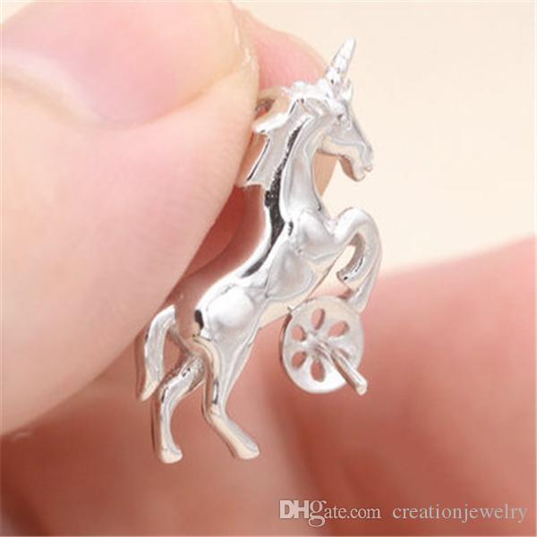 Aşk İnci kolye kolye Ayar Montaj Tabanı At Stil% 100 Katı 925 Gümüş Yarı Dağı Kadın DIY Takı Bulguları DZ024