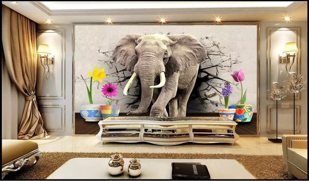 Wdbh 3d Wallpaper Custom Photo Elephant, Elephant Decor For Living Room