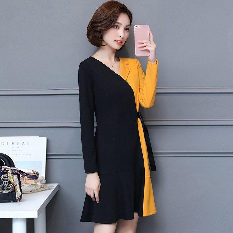 Outono-Inverno vestido de mulher 2019 Casual Preto Patchwork Amarelo Vestidos Tamanho Grande senhoras vestido de chiffon Escritório Vestidos Mujer