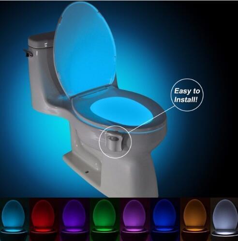 المرحاض مصباح التعريفي التغيير ملون كشف الحركة المرحاض أضواء LED صديقة للبيئة المرحاض السلطانية الخفيفة ليلة متعة الحمام LED مصباح CLS215