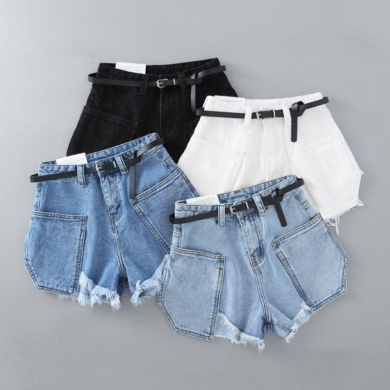 Summer new Korean fashion Jeans high waist pocket raw denim shorts with belt women lift hip pants