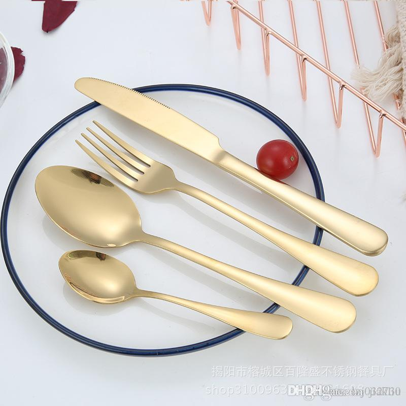 4 Piece/Set Flatware Gold colo Stainless Steel Dinner Set Western Utensils Kitchen Dinnerware include Knife Fork Spoon Dessert Spoon A065