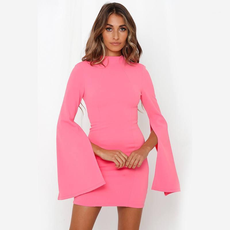 Женская Повседневные платья Bodycon платья Белл рукавом Платья Женская мода осень с длинным рукавом Одежда Crew Neck