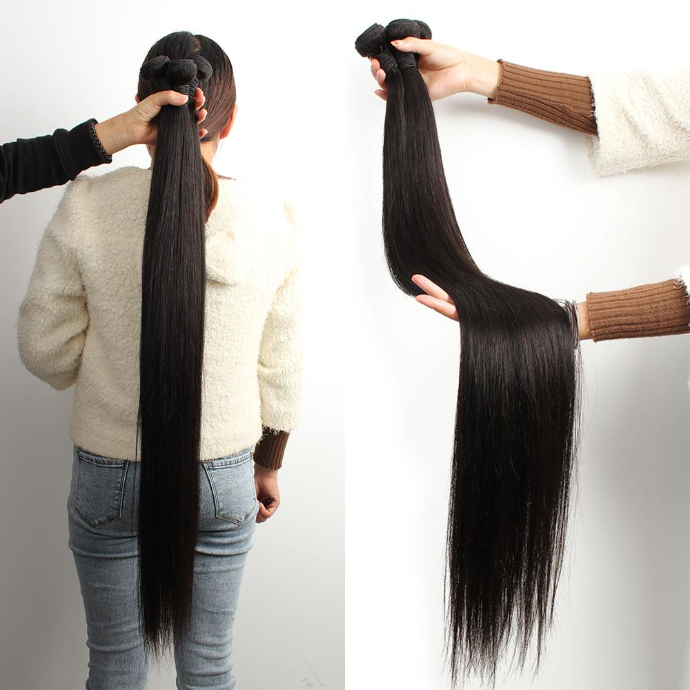 la extensión del pelo KISSHAIR 28 30 32 34 pulgadas Remy 3pcs brasileña del pelo humano de la cutícula alineados recta sin transformar haces de pelo de la India primas