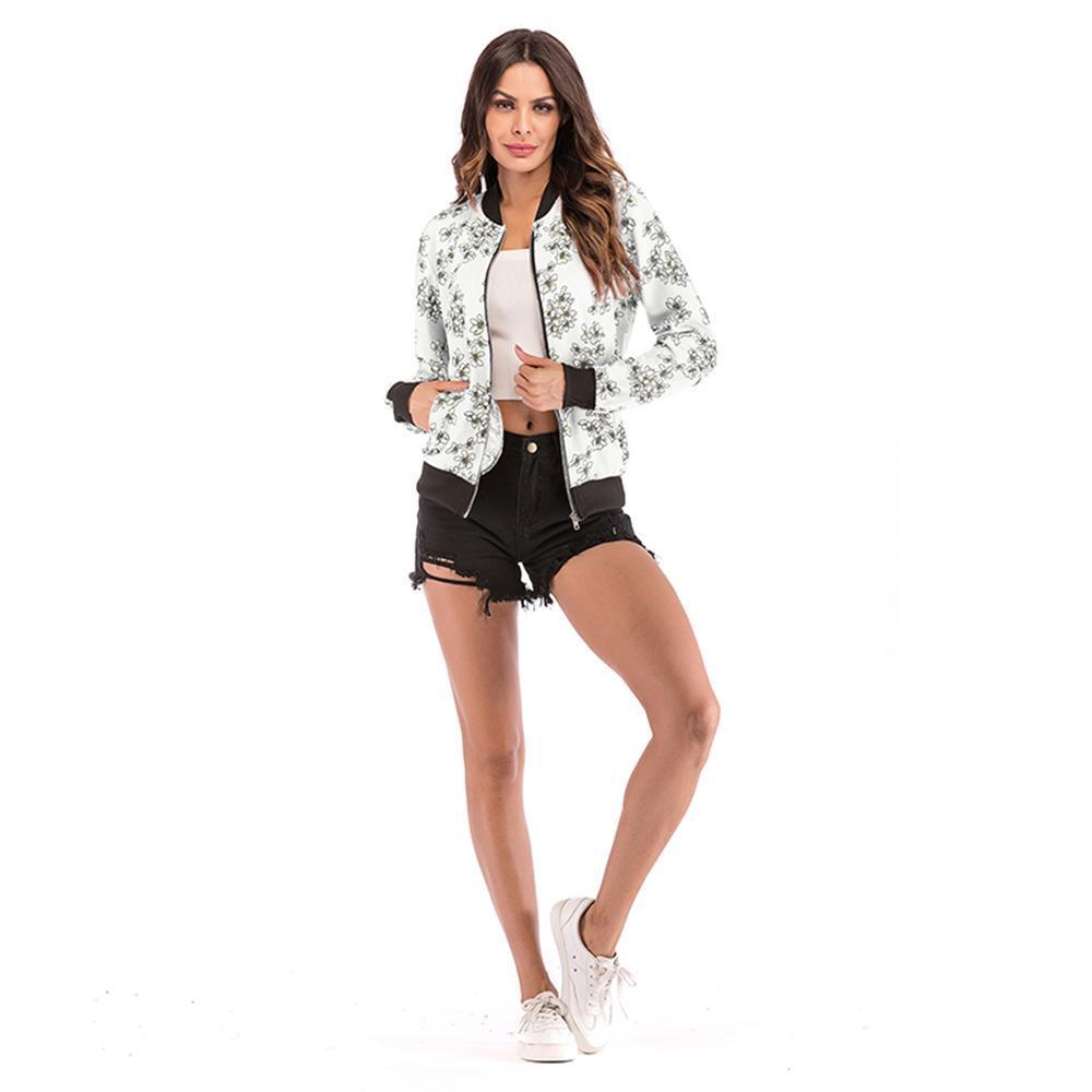 2019 printemps / automne Bomber Nouveau mode Veste Mini fleur veste zippée Imprimer femme manteau occasionnel