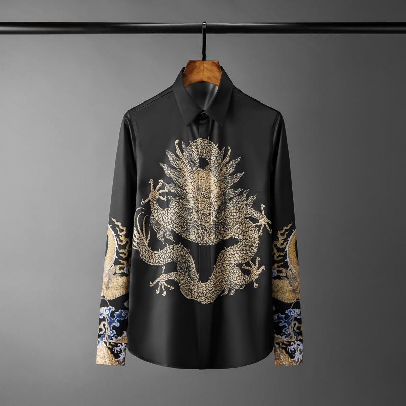 أسود قميص رجالي قمصان فاخرة الصين التنين مطبوعة كم طويل للرجال اللباس بالاضافة الى حجم 4XL صالح سليم الماس رجل