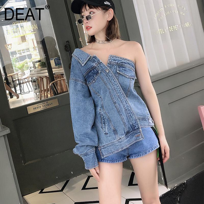 DEAT 2019 neue Sommermode Frauen Kleidung Boot-Ausschnitt mit einzelnen Ärmeln eine Taste gewaschen Jeansjacke weiblichen High Street WG83205L