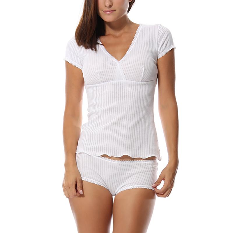 Kalvonfu الساخن المرأة مشروط تي شيرت السراويل داخلية قصيرة الأكمام منامة رداء مجموعة جديدة النوم t-shirt sleeplounge Y19071901