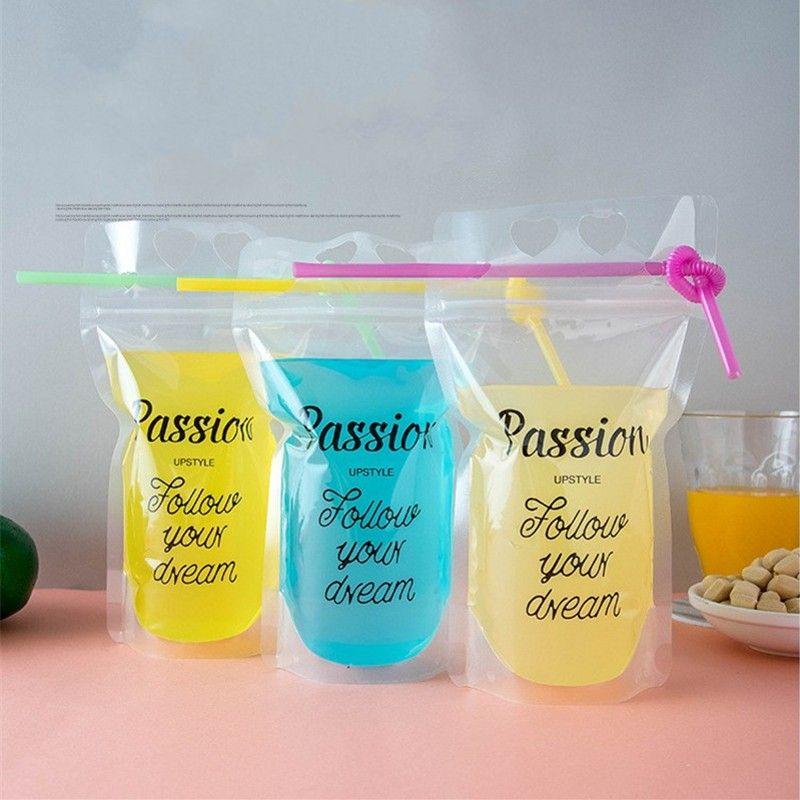 Jugo desechables Bebidas Bolsa letras impresas Fruta Leche de café líquido bolsa de 500 ml de jugo autoportante té con leche Bolsas