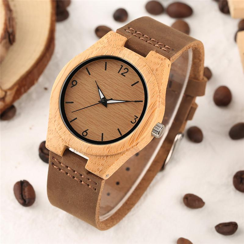 Creative Watches Women Genuine Leather Band Bamboo Case Lady Wrist Watch Wooden Light Yellow Dial Modern Female Clock Xmas Gifts J 190505