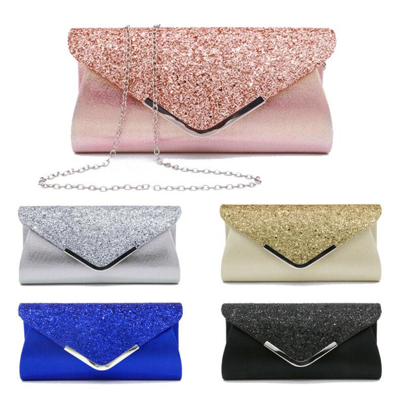 2020 das mulheres da noite do partido dos Sequins Ladies Envelope Glitter Shimmer Prom inteligente Jane Clutch Bag Handbag