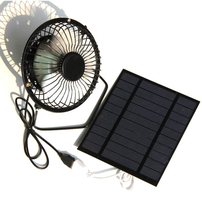 Buheshi 2.5 واط 5 فولت الشمسية بدعم لوحة الحديد مروحة ل مكتب المنزل السفر الصيد 4 بوصة مروحة تبريد التهوية usb شحن مجاني