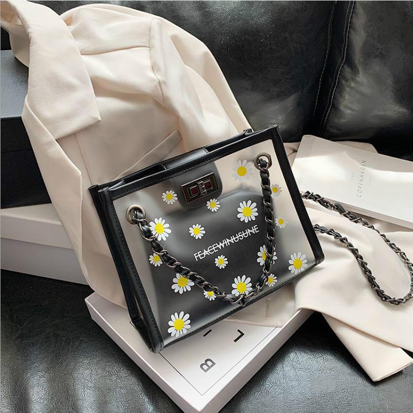 Designer Petit sac de femmes d'été nouvelle mode chaîne unique épaule fourre-tout Sac Messenger avec sacs transparents carrés