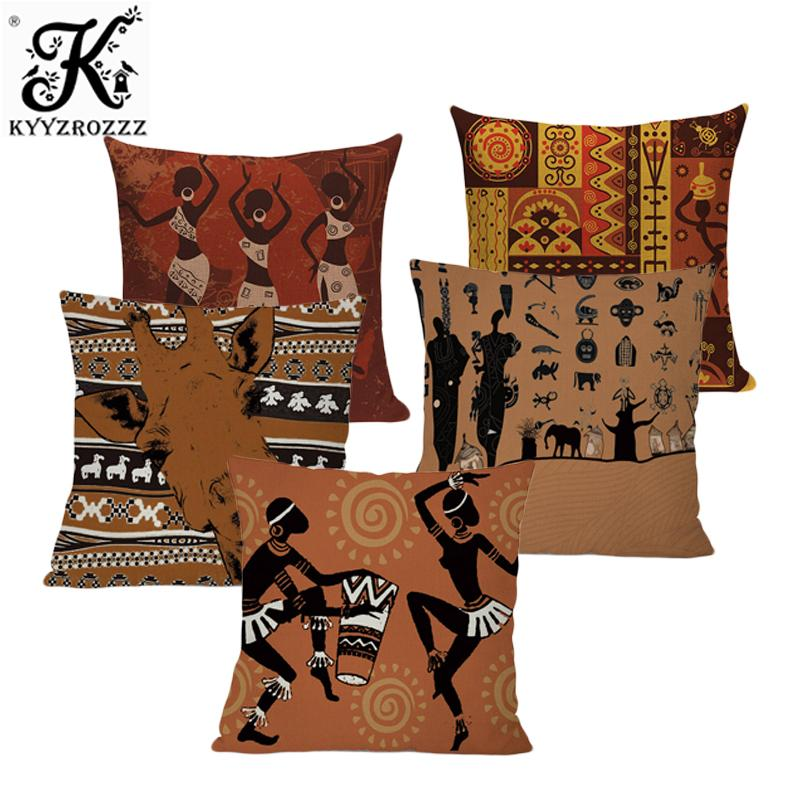 Miracille Dancing Woman Ethnic Cushion Cover African Style Pillow Case Linen Cotton Color Cloth for Sofa Throw Pillows