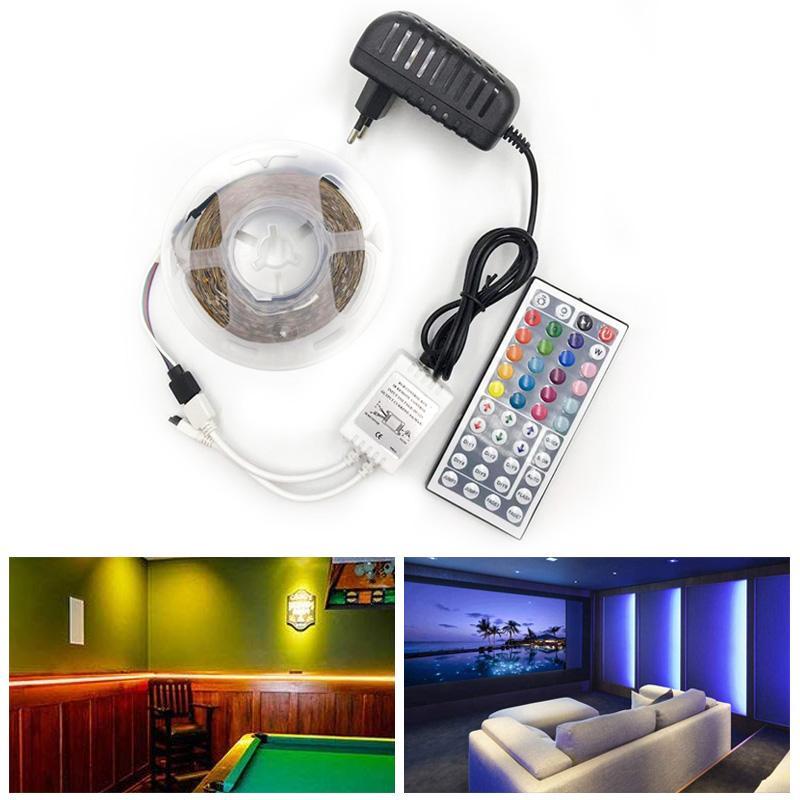 BRELONG RGB LED 스트립 방수 2835 5 메터 DC12V 피타 LED 라이트 스트립 네온 LED 12 볼트 유연한 테이프 Ledstrip 컨트롤러 및 어댑터