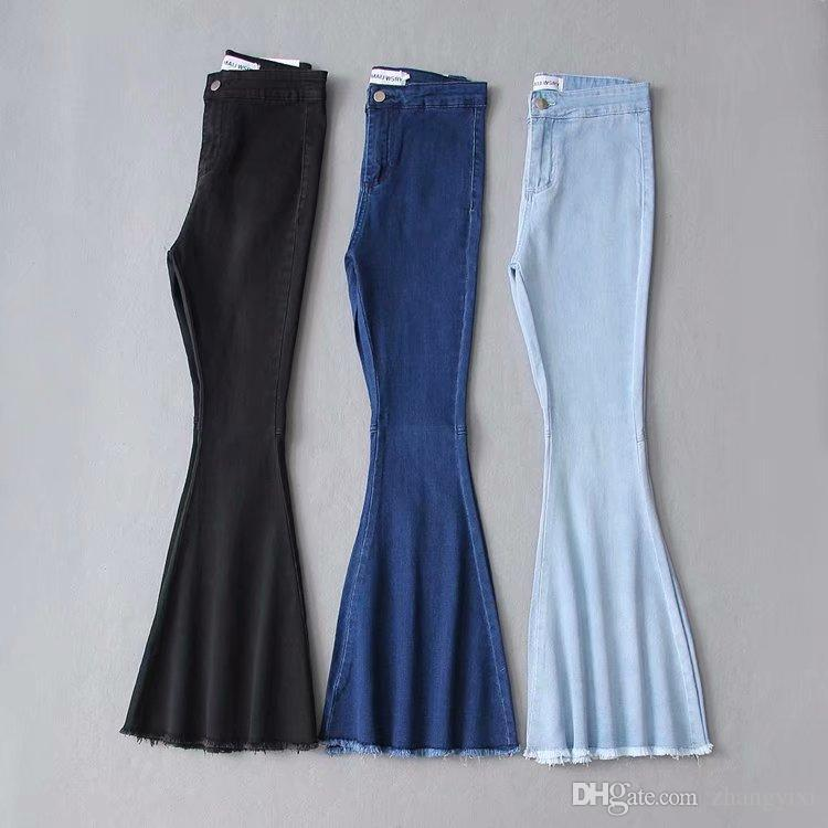 Flare jeans mulheres cintura alta estiramento lavagem denim tamanho grande borla feminino perna larga mom jeans skinny jeans mulher