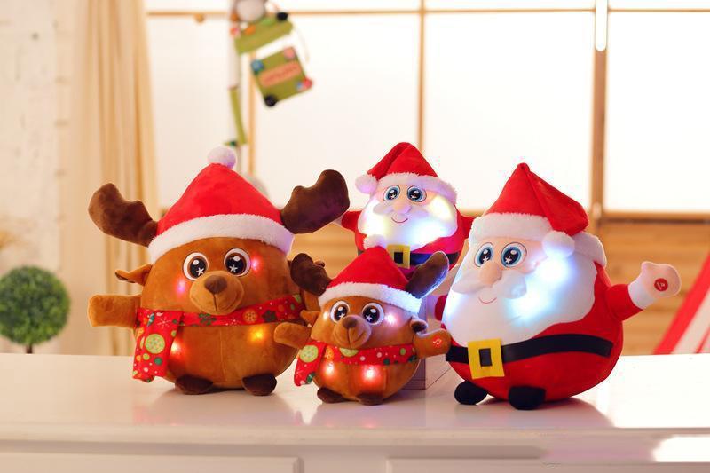 22cm Bunte glühende Weihnachten Vater Milu Hirsch Plüschtiere Kreative leuchten LED Singen Musik Plüschtiere für Kinder Weihnachten Spielzeug