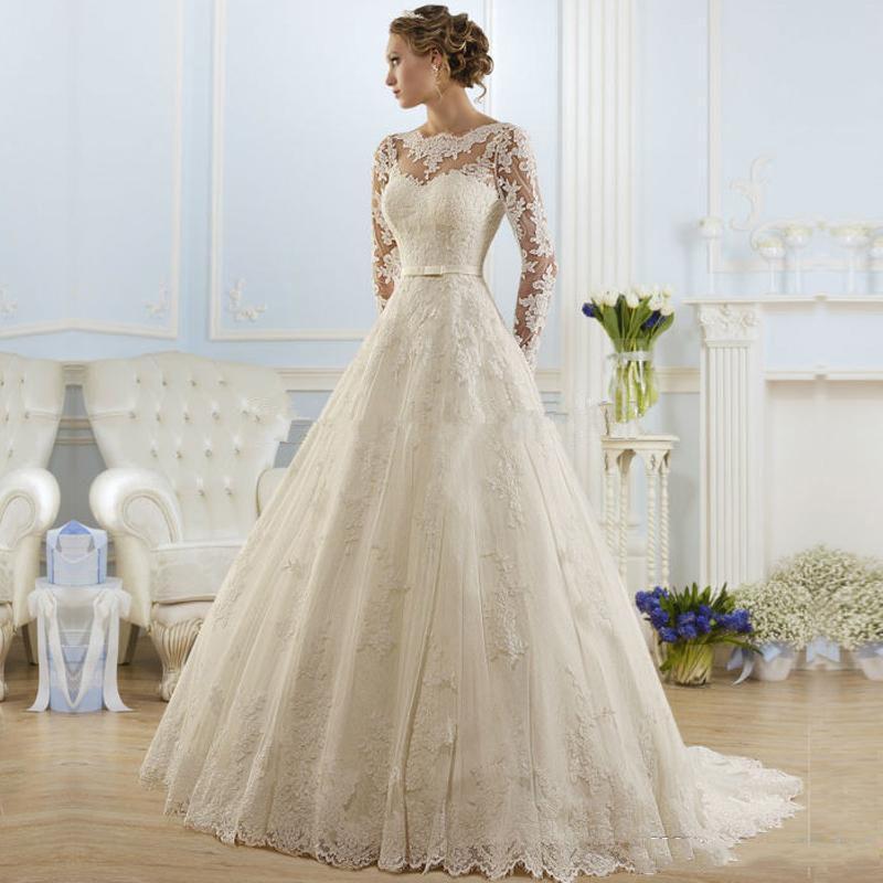 맞춤형 긴 소매 레이스 웨딩 드레스 2021 Sash Appleiques Court Train Jewel Neck Line Wedding Bridal Gowns
