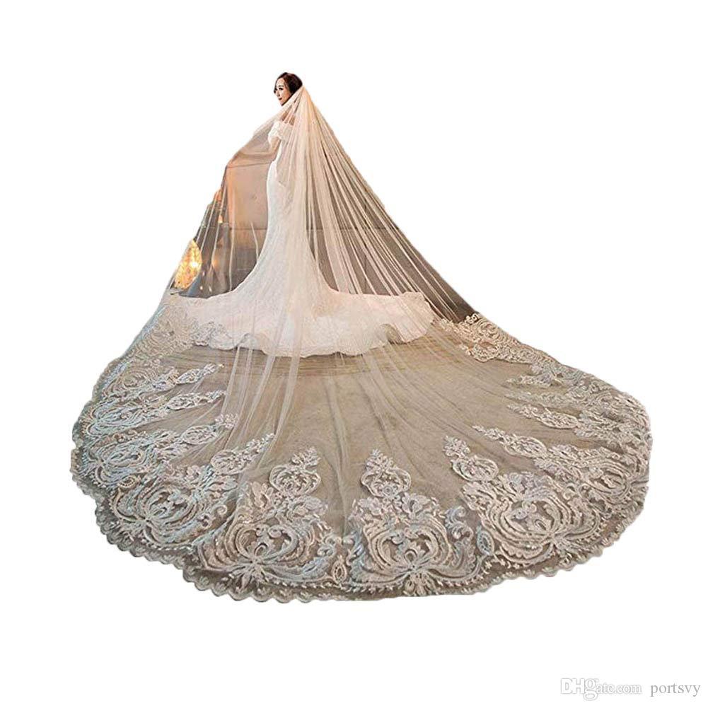 1 capa de encaje aplique velo de boda Catedral velos de novia apliques de cordón cristales de borde de encaje 1T con peine adjuntos a medida de 4 m de boda
