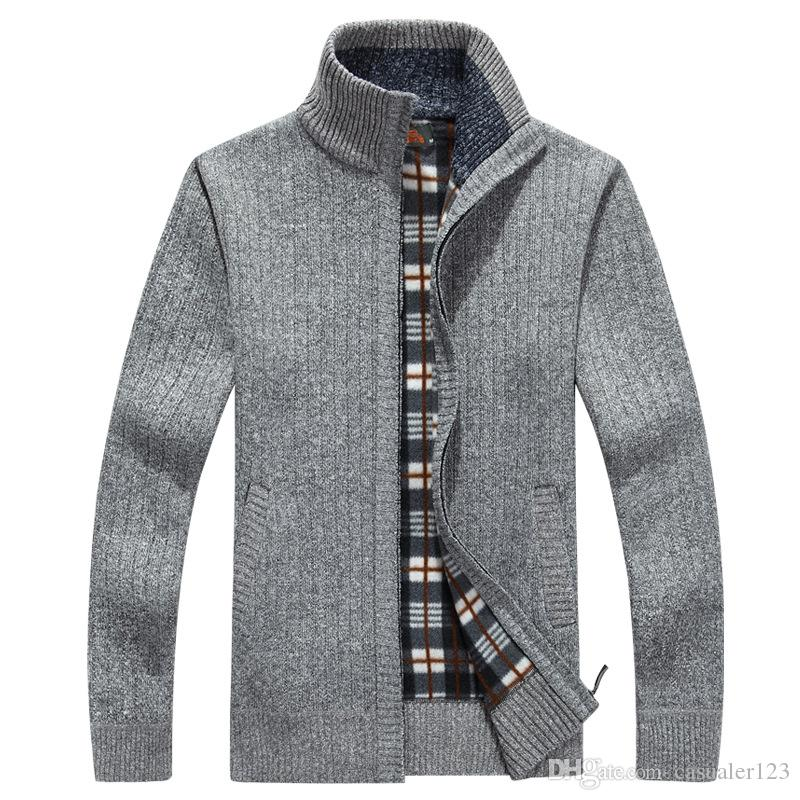 New Simple Smart Casual Pullover High Quality Pure Cotton Long Sleeve Sim Fit Mens Sweater Fashion Plus Size Men Sweaters 2019